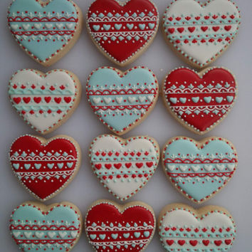 Lovely Lace Heart Cookies in Red, White, and Turquoise - One Dozen Decorated Valentine's Day Cookies