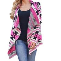 Women's Hot Pink/Gray Aztec/Tribal Printed Long Sleeve Cardigan Sweater Jacket