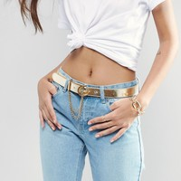 Versace Jeans Leather Belt in Gold with Chain Detail at asos.com