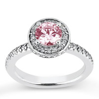Halo pink round diamond 3.76 carats solitaire with accents ring white gold