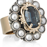 Mawi Gold-plated crystal and faux-pearl ring – 58% at THE OUTNET.COM
