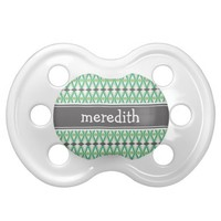 Custom Name Aztec Pattern Green Dummy Baby Pacifiers