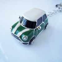 Olive green mini car, white stripes, white roof,Personality white gold car keychain,drop of oil plus ,grade crystal,luxury,best gift,