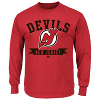 Majestic New Jersey Devils Tape To Tape Long Sleeve T-Shirt - Red