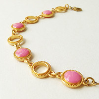 Pale Raspberry Pink Bracelet, Pink Bracelet, Raspberry Pink Resin Disc Bracelet, Pink and Gold Bracelet, Resin Jewelry For Her