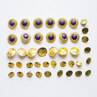 Set of 42 vintage sewn golden buttons 1980's, golden and lilac purple assorted buttons lot, retro sewing supply, USSR soviet army buttons