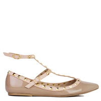 T-Strap Studded Pointed Toe Natural Patent Flats