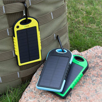Hot Waterproof Solar Power Bank 5000mAh Portable Charger Travel Enternal Battery Powerbank for Xiaomi iPhone 5S 6 4S HTC Sumsang