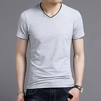 Spring Summer Short Sleeve Tee Shirt Men Casual V-Neck T-Shirt Men Pure Cotton Top Homme Clothing