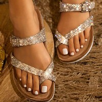 Fashion diamond-studded slippers women's shoes sandals belt buckle flip-flops women's slippers