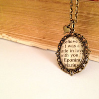 Eponine and Marius from Les Miserables Antique Bronze Book Page Necklace