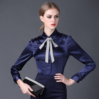 2016 new Satin Shirt Women Long sleeve peter pan collar silk Blouses women work wear uniform office OL shirt simple body tops