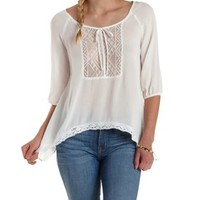 Ivory Tie-Front Crochet Bib Peasant Blouse by Charlotte Russe