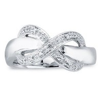 Sterling Silver Diamond Infinity Womens Ring-Size 7