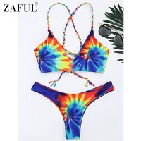 ZAFUL 2017 Newest Swimwear Padded Bikini Sexy Beach Swimwear Women Swimsuit Bathing Suit Tie Dye Braided Criss Cross Bikini Set