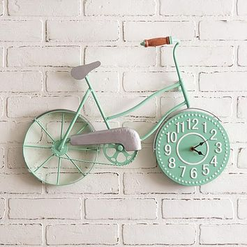 Mint Green Bicycle Clock