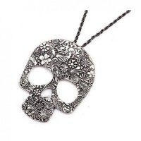 World Pride Vintage Skull Face Hollow Flower Carving Pendant Chain Necklace