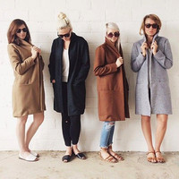 Plain Tweed Trench Coat