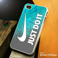 Cyan nike Just Do It iPhone 4 5 5c 6 Plus Case, Samsung Galaxy S3 S4 S5 Note 3 4 Case, iPod 4 5 Case, HtC One M7 M8 and Nexus Case