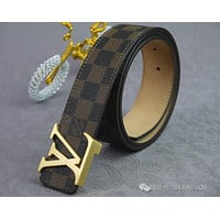 Louis Vuitton Monogram LV Belt Initiales Size 90 / 36 Reversible Black / Cacao