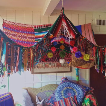Boho Canopy Tribal POW WOW serape Bohemian hippy bedroom Gypsy hippie patchwork meditation garden Wedding Decor photo prop backdrop mexican