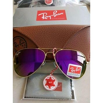 Cheap RAY BAN Sunglasses Aviator Authentic RB 3025 Metal Gold/ Purple Mirrored outlet