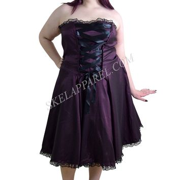 Plus Size Gothic Rockabilly Purple Satin Corset Lace-up Dress