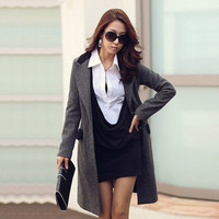 Casual faux 2 Pieces Korea Ladies Long Sleeve Tunic Lapel Tops Blouse Mini Dress from dakotan fashion and gadget