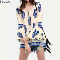 Spring Retro Womens Floral Print Flare Sleeve Lace-Up V-Neck Shirt Boho Casual Loose Flounced Blouse Tops Plus Size
