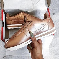 NIKE Cortez Trending Women Men Stylish Rose Golden Casual Running Sport Shoes Sneakers I-FEU-SY