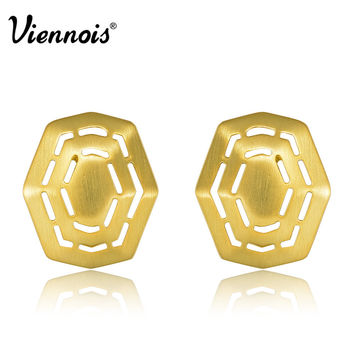 New Viennois Gold Plated GP Hollow Metal  Rock Stud Earrings for Women Luxury Gift Free Shipping