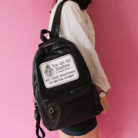 Bright color backpack large capacity of the bag Black