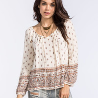 Blu Pepper Border Print Womens Peasant Top Beige  In Sizes