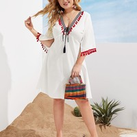 Plus Size Tassel Trim Tie Front Dress