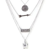 Long Necklace with Layered Charms