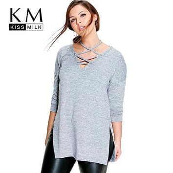 Kissmilk Plus Size New Fashion Women Clothing Casual Solid Halter Tied Tops Long Sleeve Big Size Blouse Shirt 3XL 4XL 5XL 6XL
