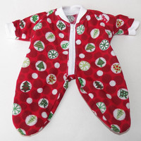 Bitty Baby Boy Clothes Pajamas 1 Red Christmas Tree Holiday Print Zip up  Pjs Sleeper
