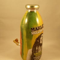 Bob Marley Tobacco Smoking Pipe – Glass Pipe made from emptied Bottle with added Metal Bowl.