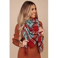 Cold Weather Plaid Blanket Scarf (Red/Green)