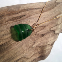 Sea Glass Necklace Beach Glass Pendant Ecofriendly Jewelry Recycled Upcycled Lake Erie