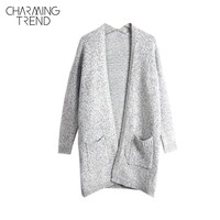 Charmingtrend Casual Sweater Women Autumn Solid Gray Cardigans Open Stitch Pockets Maternity Long Sleeve Female Knitted Cardigan
