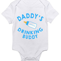 Funny Daddy's Drinking Buddy Baby Clothes Infant Bodysuit Baby Shower Gift idea New Mom Christmas Humor Cute Joke Bottle Milk Fathers Day