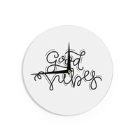"Busy Bree ""Good Vibes"" Black White Wall Clock"