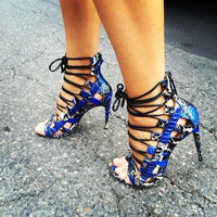 Ngozi Blue Snake Skin Leather Sandals