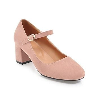 Casual Square Toe Buckle Mary Janes Women's Chunky Heels Pumps