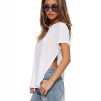 Short Sleeve Cut-Out High Low Shirt