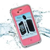 Leang Waterproof Shockproof and Dirtproof Case for iPhone 4 4S Life Dirt Proof Case - Pink + Cleaning Cloth