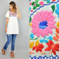 MEXICAN OAXACAN vtg 70s boho hippie EMBROIDERED floral ethnic blouse mini dress, extra small-large