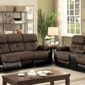 CM6870 2 pc Hadley I brown champion fabric espresso leatherette sofa and love seat with recliner ends