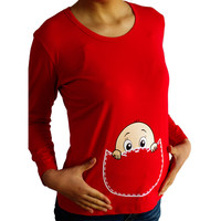 Grandwish Baby Peeking Out  Pregnancy Plus Size Shirt Pregnant Women Tees Maternity Long Sleeve Top Clothes L-XXL, SC278